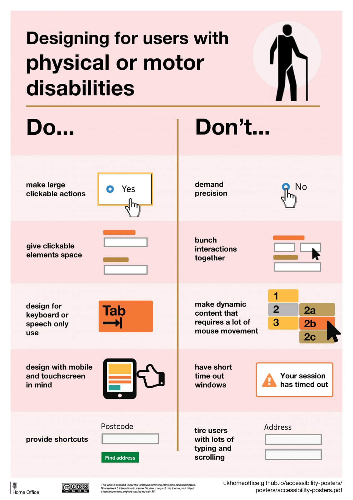GOV.UK Designing For Users With Physical Or Motor Disabilities